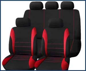Fundas de asiento negras y rojas